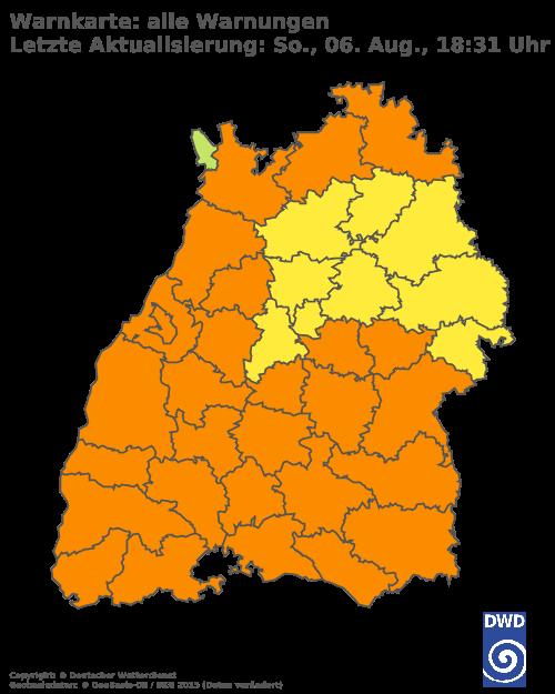 Aktuelle Wetterwarnungen für Rhein-Neckar-Kreis und Stadt Heidelberg